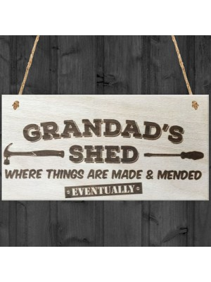 Grandads Shed Wooden Hanging Plaque Garage Tool Shed Gift Sign