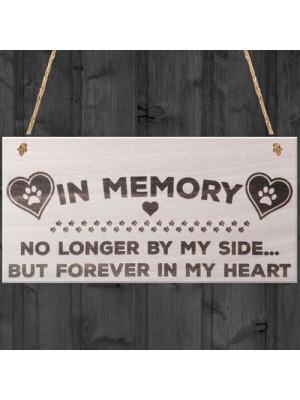 In Memory Pet Memorial Plaque Wooden Hanging Paw Prints Sign