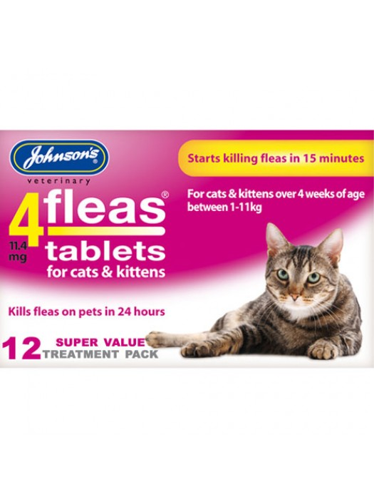 Johnsons 4Fleas Tablets For Cats & Kittens - 12 Treatments