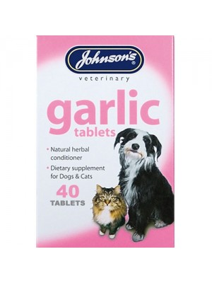 Johnsons 40 Garlic Tablets For Dogs & Cats Natural Cleanser