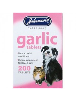Johnsons 200 Garlic Tablets For Dogs & Cats Natural Cleanser