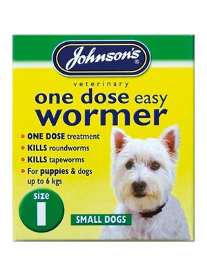 Johnsons One Dose Easy Wormer Size 1 - Small Dogs Up To 6kg