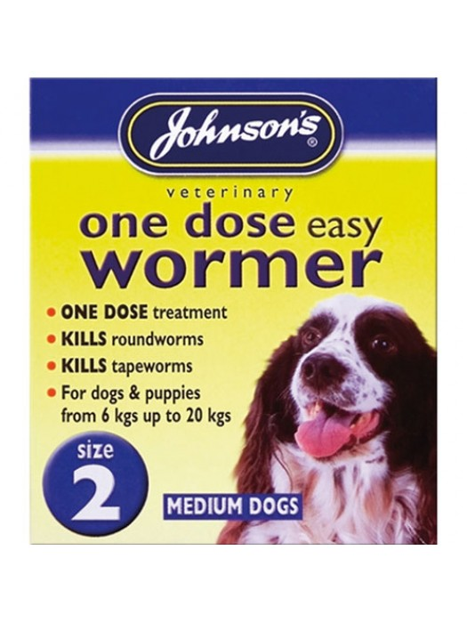 Johnsons One Dose Easy Wormer Size 2 - Medium Dogs 6kg - 20kg