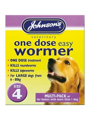Johnsons One Dose Easy Wormer Size 4 - Large Dogs 6kg - 80kg