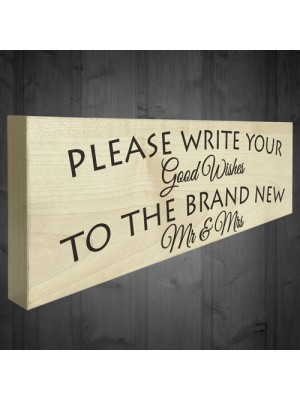Good Wishes New Mr & Mrs Wooden Freestanding Plaque Wedding Sign