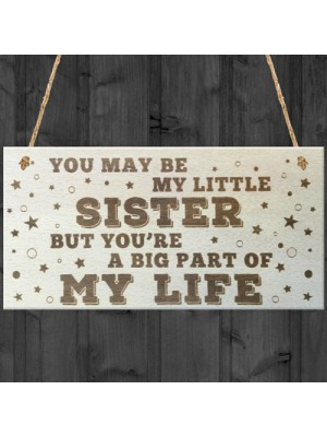 Little Sister Big Part Of My Life Wooden Hanging Plaque