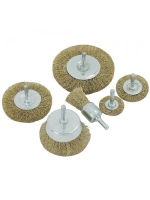 6 Piece Brass Wire Wheel End / Cup Brush Set