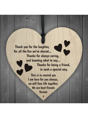 Best Friends Forever Wooden Hanging Heart Friendship Gift