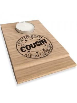 Worlds Best Cousin Candle Gift Set Tea Light Holder