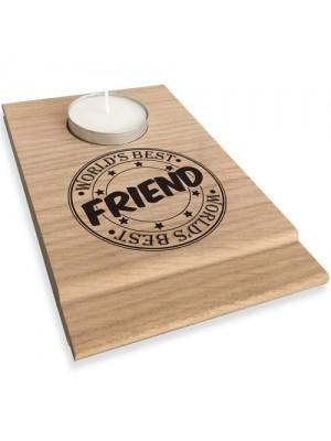 Worlds Best Friend Candle Gift Set Tea Light Holder