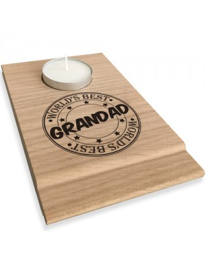 Worlds Best Grandad Candle Gift Set Tea Light Holder