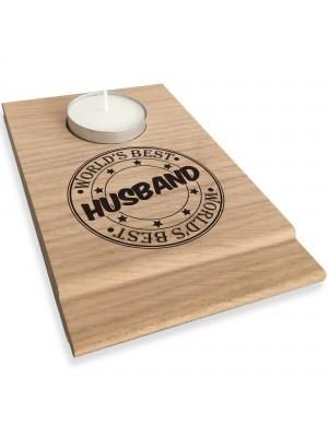 Worlds Best Husband Candle Gift Set Tea Light Holder