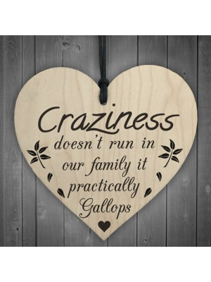 Craziness Gallops In Our Family Wooden Hanging Heart