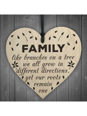 Family Roots Remain One Wooden Hanging Heart