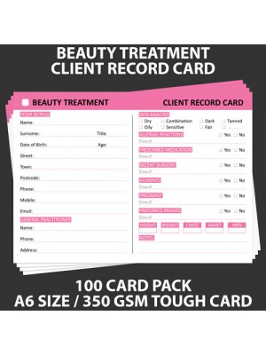 Posh Panda Beauty Client Record Card Treatment Cards - 100 Pack