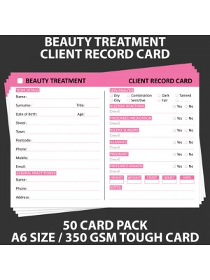 Posh Panda Beauty Client Record Card Treatment Cards - 50 Pack