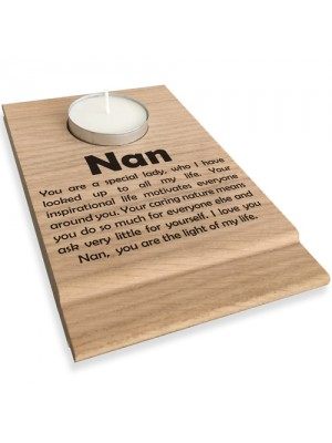 Nan You Are The Light Of My Life Wooden Candle Holder