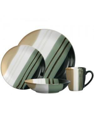 16 Piece Monsoon Striped Green Dinner Service Set