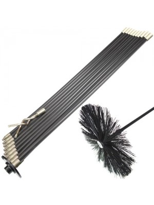 13 Pc Rod Set For Drain Chimney Flue Sweep Sweeping Brush Pluger