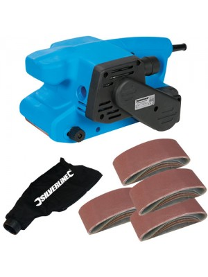 Silverline 730W 76mm Electric Belt Sander + Dust Bag + 22 Belts