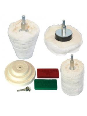9pc Polishing Kit Dome Goblem Cylinder Mop, Buffing Wheel