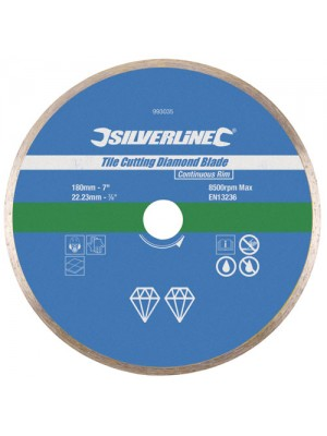 Silverline Tile Cutting Diamond Blade Continuous Rim 180 x 22.23