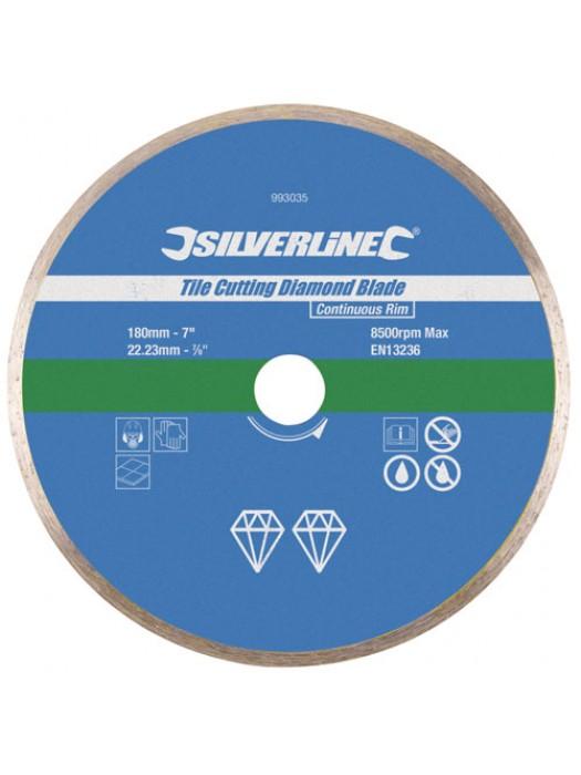 Silverline Tile Cutting Diamond Blade Continuous Rim 180 x 22.23