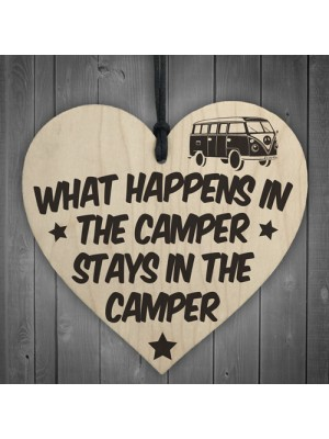 What Happens In The Camper Novelty Wooden Hanging Heart