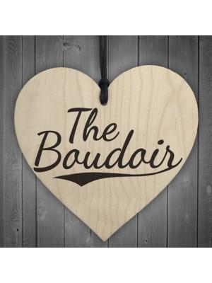The Boudoir Wooden Hanging Heart Bedroom Door Plaque