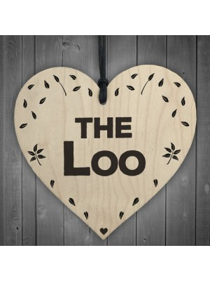 The Loo Wooden Hanging Heart Plaque Toilet Door Sign