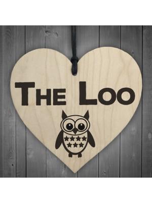 The Loo Wooden Hanging Heart Owl Plaque Toilet Door Sign