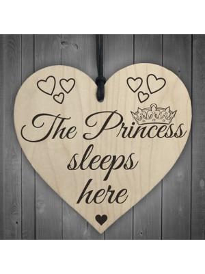 The Princess Sleeps Here Wooden Hanging Heart Bedroom Plaque