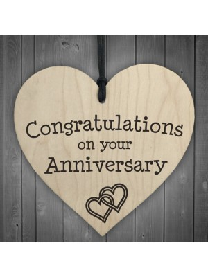 Congratulations On Your Anniversary Wooden Hanging Heart Plaque