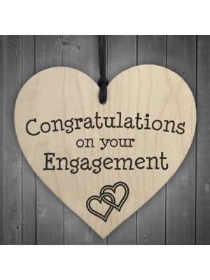 Congratulations On Your Engagement Wooden Hanging Heart Plaque