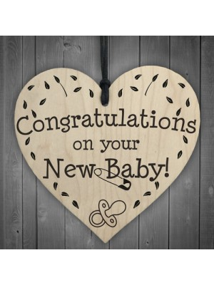 Congratulations On Your New Baby Wooden Hanging Heart Plaque