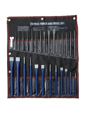 28 Piece Cold Chisel & Taper Center Punch Set Gauge Workshop