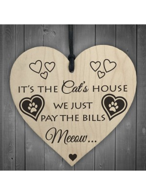Its The Cats House Novelty Wooden Hanging Heart Plaque