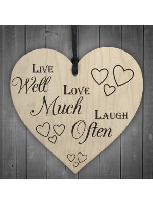 Live Laugh Love Wooden Hanging Heart Plaque