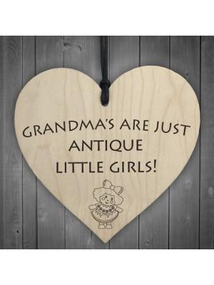 Grandmas Antique Little Girls Novelty Wooden Hanging Heart