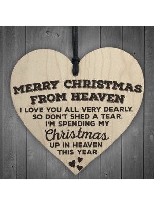 Merry Christmas From Heaven Wooden Hanging Heart Plaque