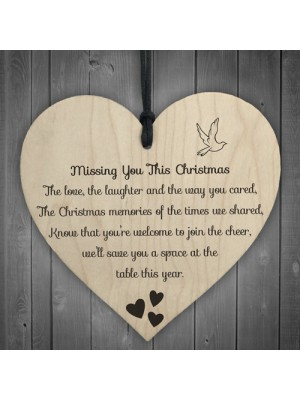 Missing You This Christmas Wooden Hanging Memorial Heart Plaque