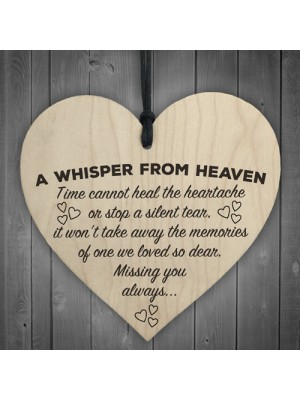 A Whisper From Heaven Wooden Hanging Heart Memorial Plaque