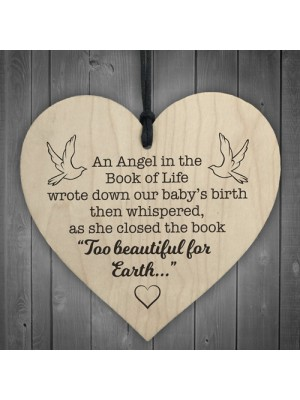 Angel Book Of Life Wooden Hanging Memorial Heart Plaque