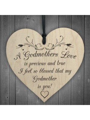 Blessed Godmothers Love Wooden Hanging Heart Plaque Sign
