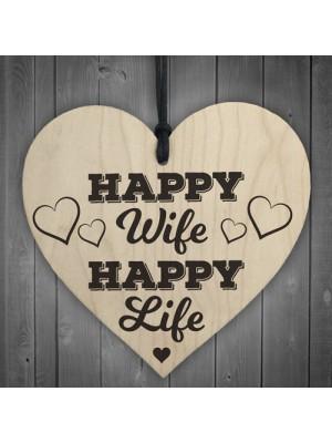 Happy Wife Happy Life Wooden Hanging Heart Love Plaque