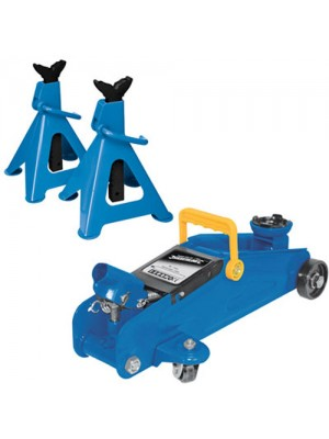 2 Ton Car Hydraulic Trolley Jack & 3 Ton Car Axle Stand Set