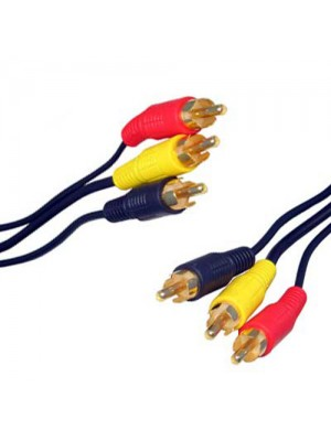 3 x RCA Phono Audio Video Cable Gold - 10m