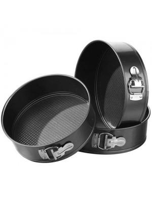 3Pc Spring Form NonStick Round Cake Baking Tin Tray Pans 24-28cm