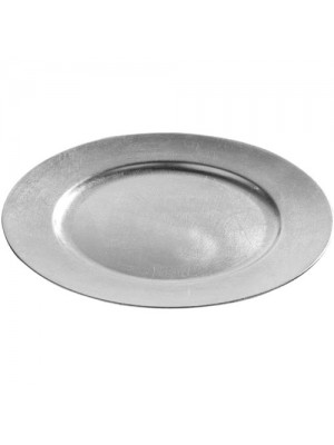 Set Of 4 33cm Decorative Charger Dinner Under Plates - Silver