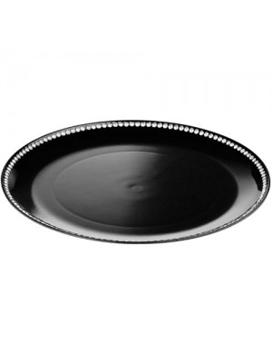 Set Of 2 33cm Coupe Diamante Edge Radiance Charger Plate Black